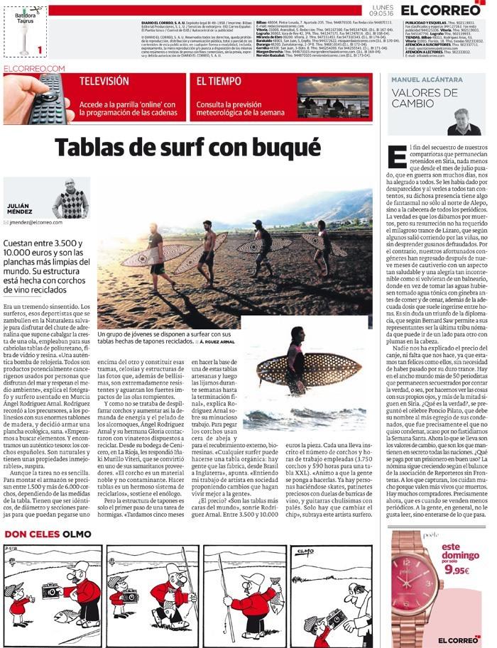 Imagen de la noticia de El Correo donde hablan de las tablas de surf hechas con corcho